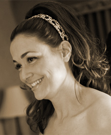 happy bride after Paula Soler gives her fabulous wedding hair